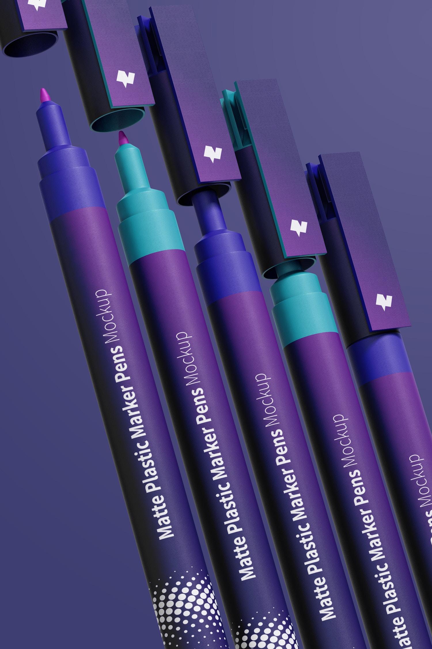 Matte Plastic Marker Pens Mockup, Close Up
