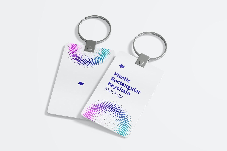 Plastic Rectangular Keychains Mockup, Perspective
