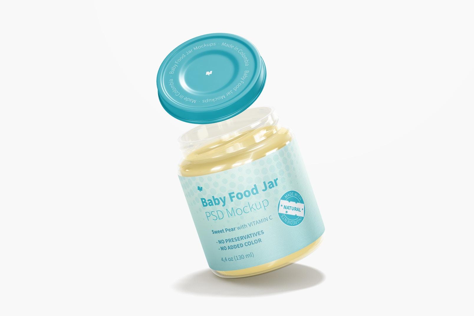 Baby Food Jar Mockup, Falling
