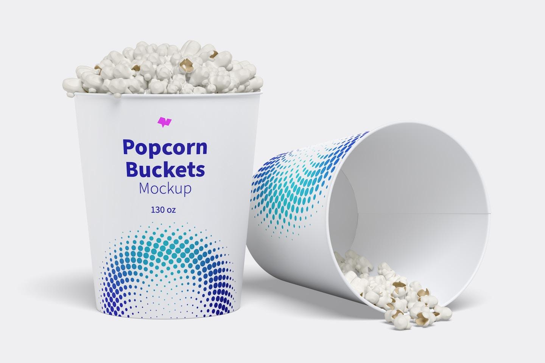 130 oz Popcorn Buckets Mockup