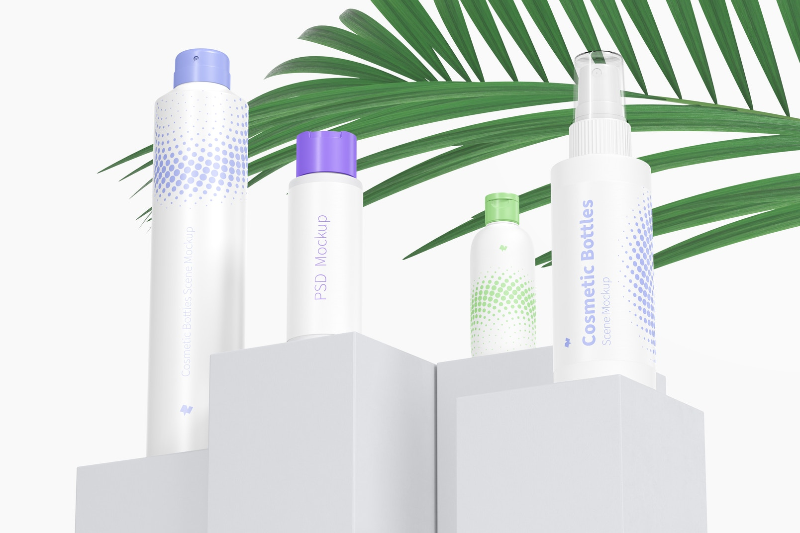Cosmetic Bottles Scene Mockup, Low Angle View