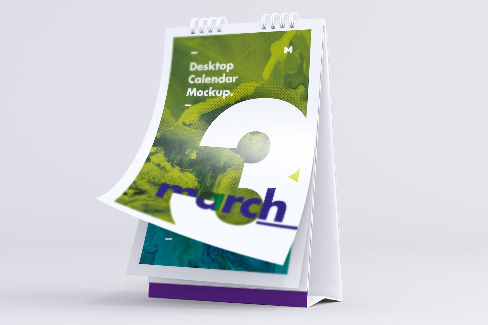 Desktop Portrait Calendar Mockup Turning Pages
