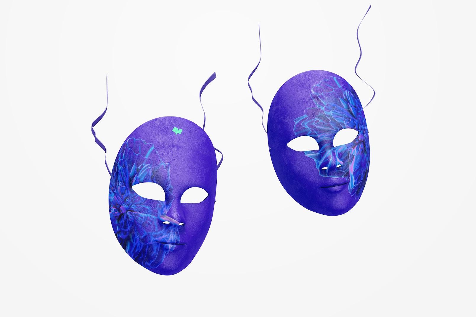 Plain Venetian Full-Face Masks Mockup, Falling