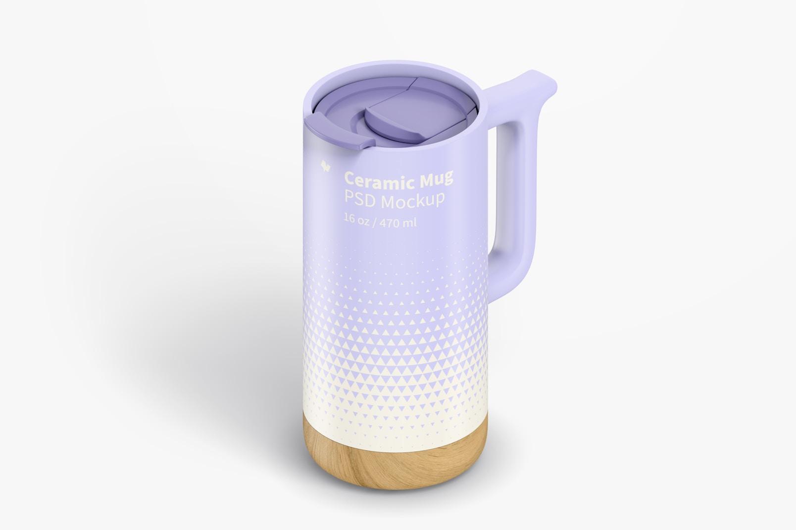 16 oz Ceramic Mugs with Wood Base Mockup, Isometric Left View