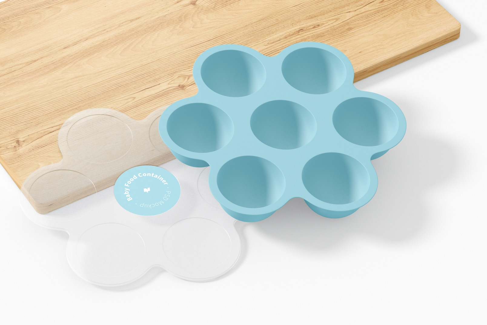 Baby Food Container Mockup, Opened