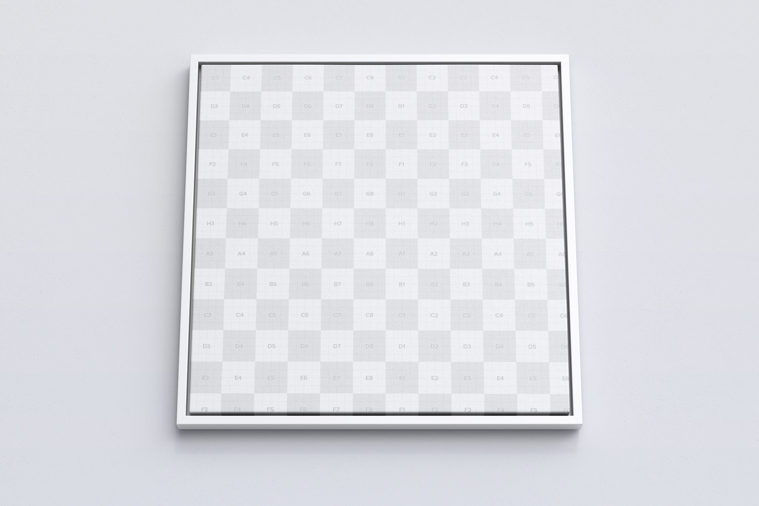 1:1 Square Canvas Mockup in Floater Frame, Bottom Front View