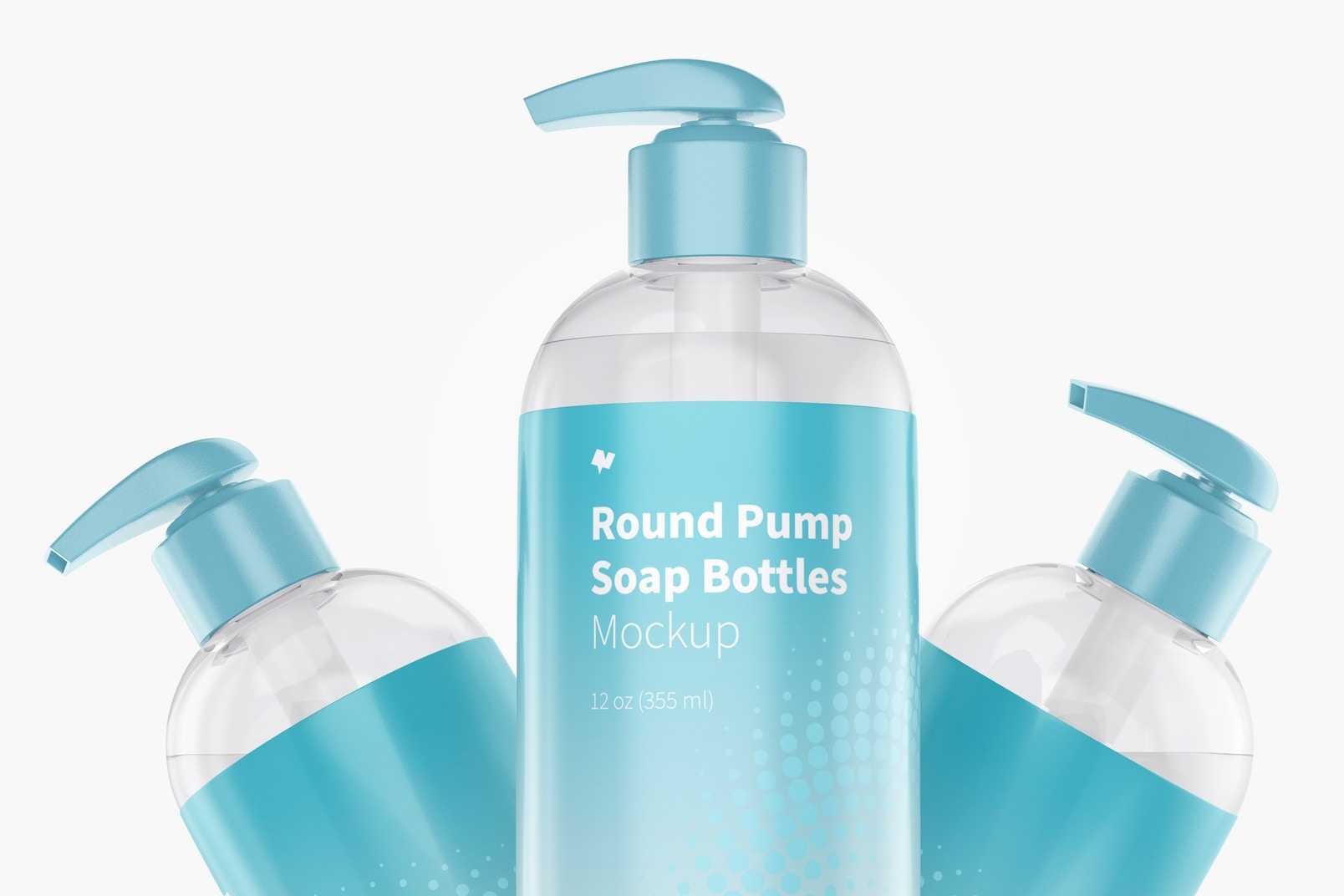 Round Pump Soap Bottles Set Mockup