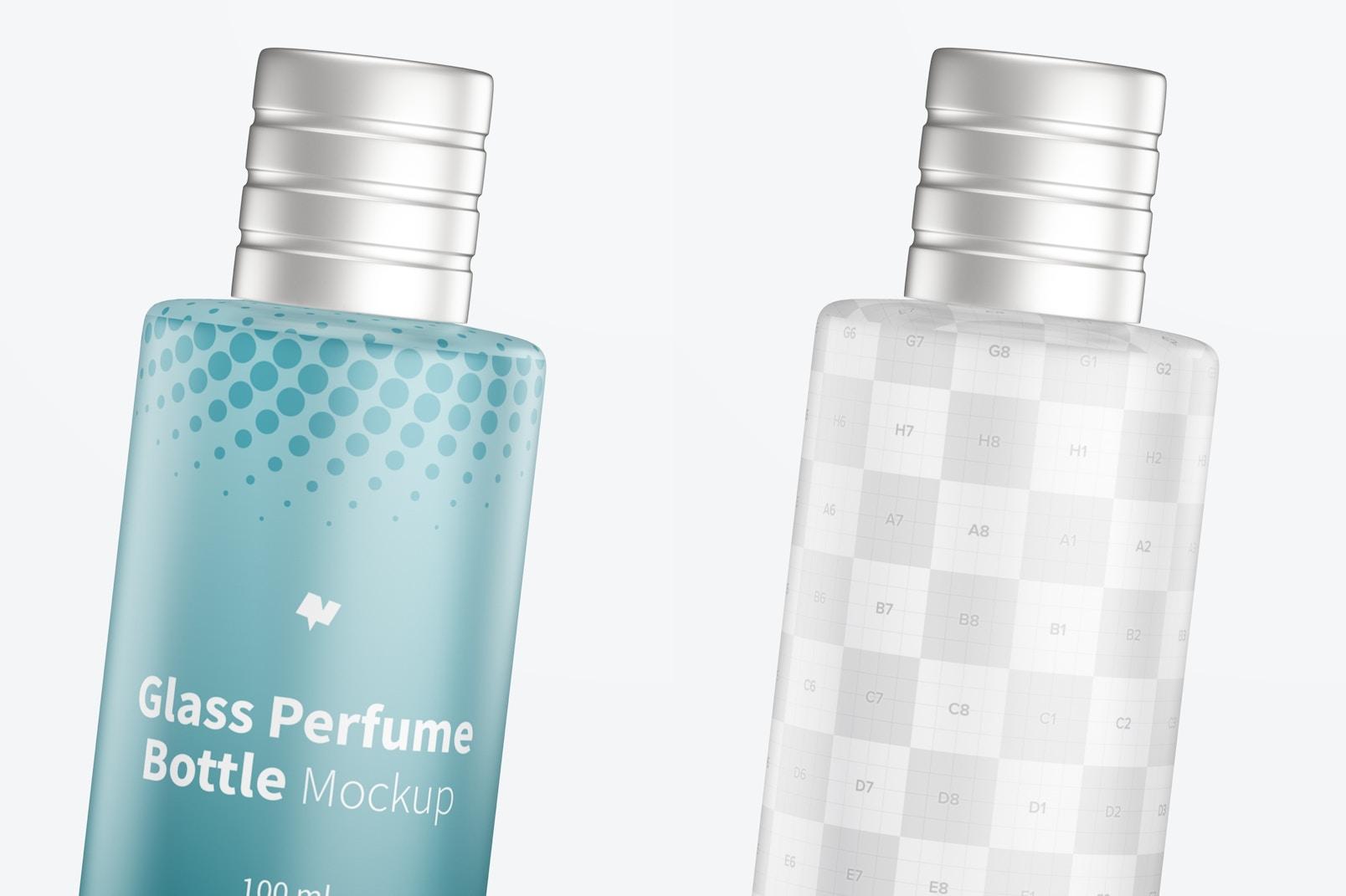 100 ml Glass Perfume Bottle Mockup, Close Up