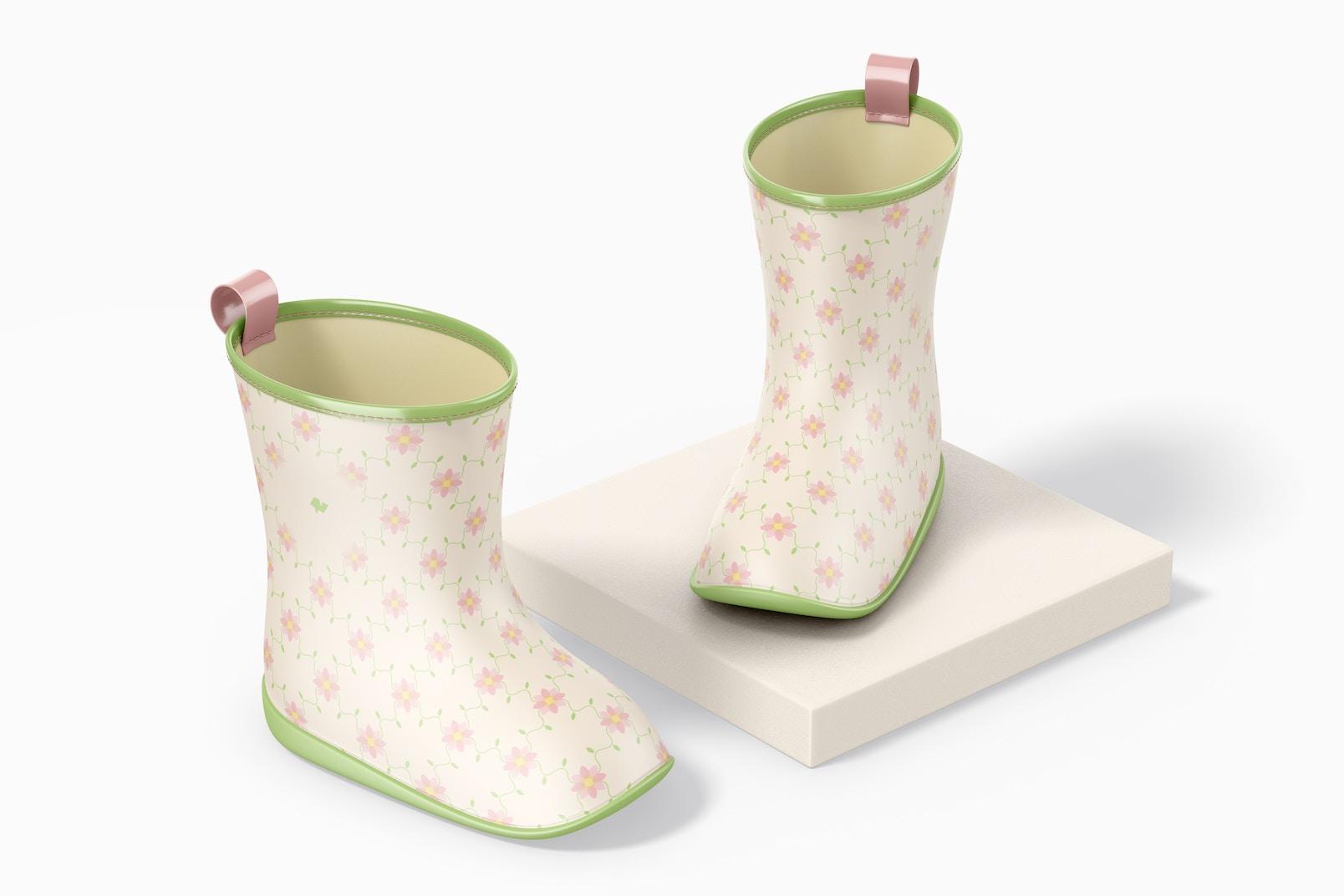 Kids Rain Boots Mockup, Perspective
