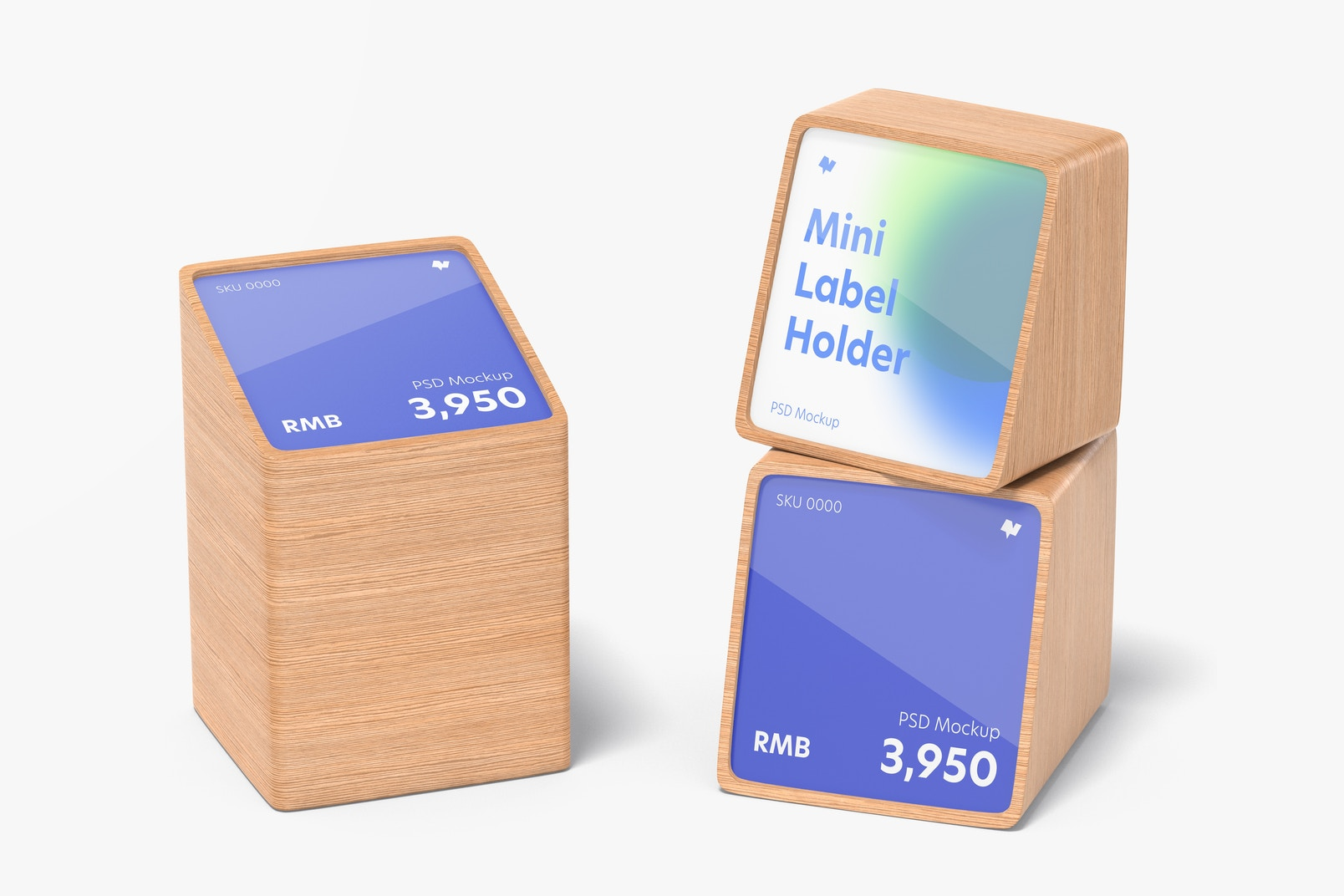 Wood Mini Price Label Holders Mockup, Right View