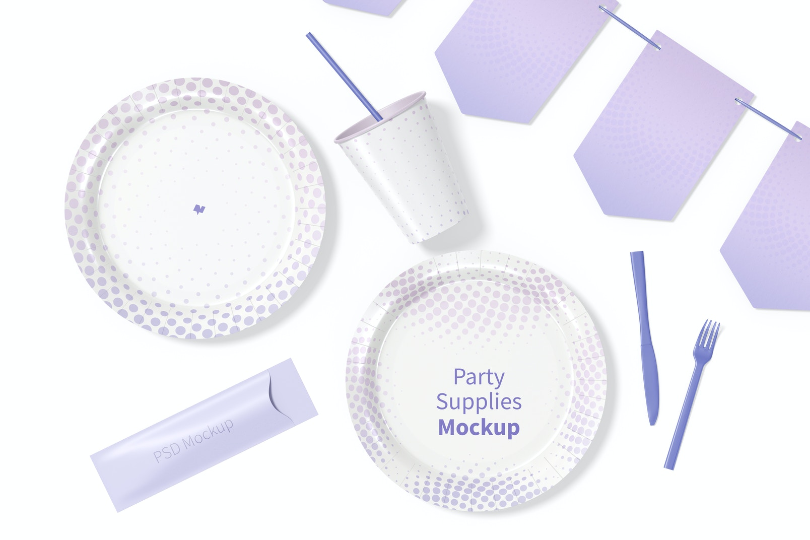 Party Supplies Mockup, Top View