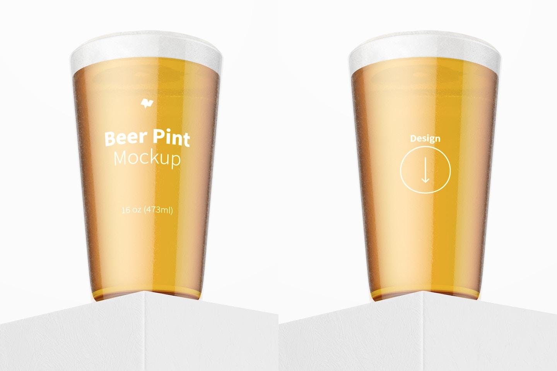 16 oz Beer Pint Mockup, Bottom Front View