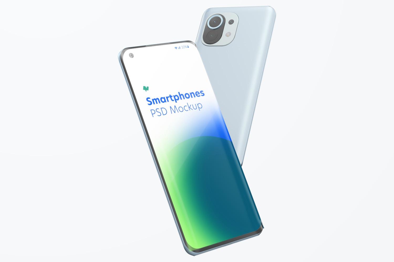 Xiaomi Smartphones Mockup, Falling