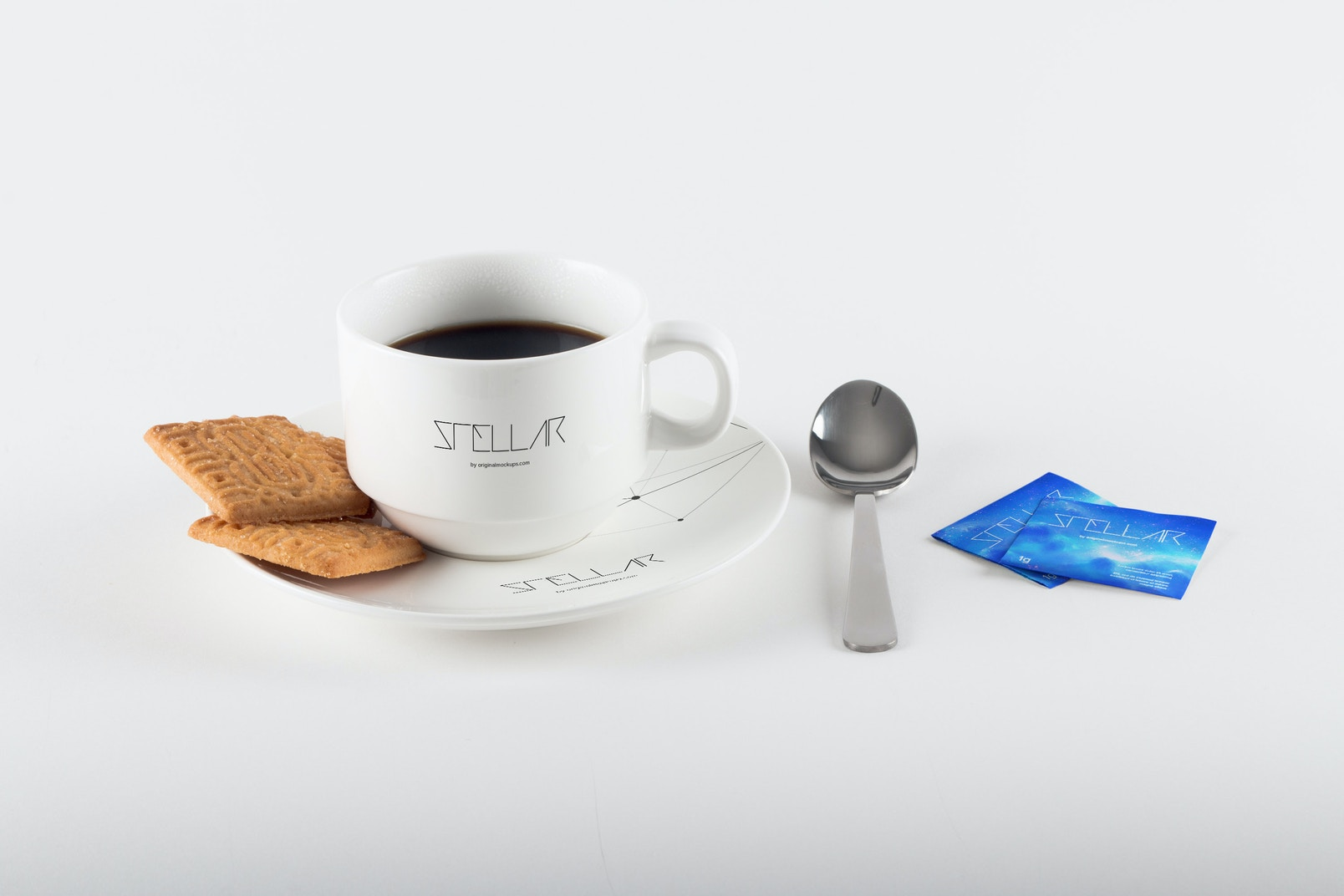 Coffee Cup with Cookies Mockup 02