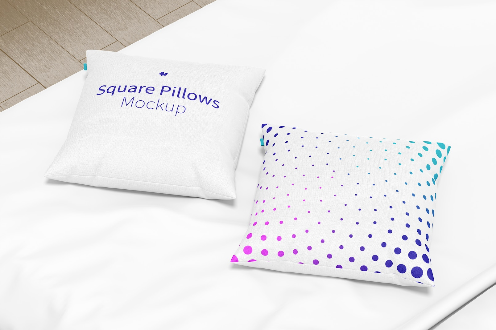 Square Pillows Mockup, Perspective