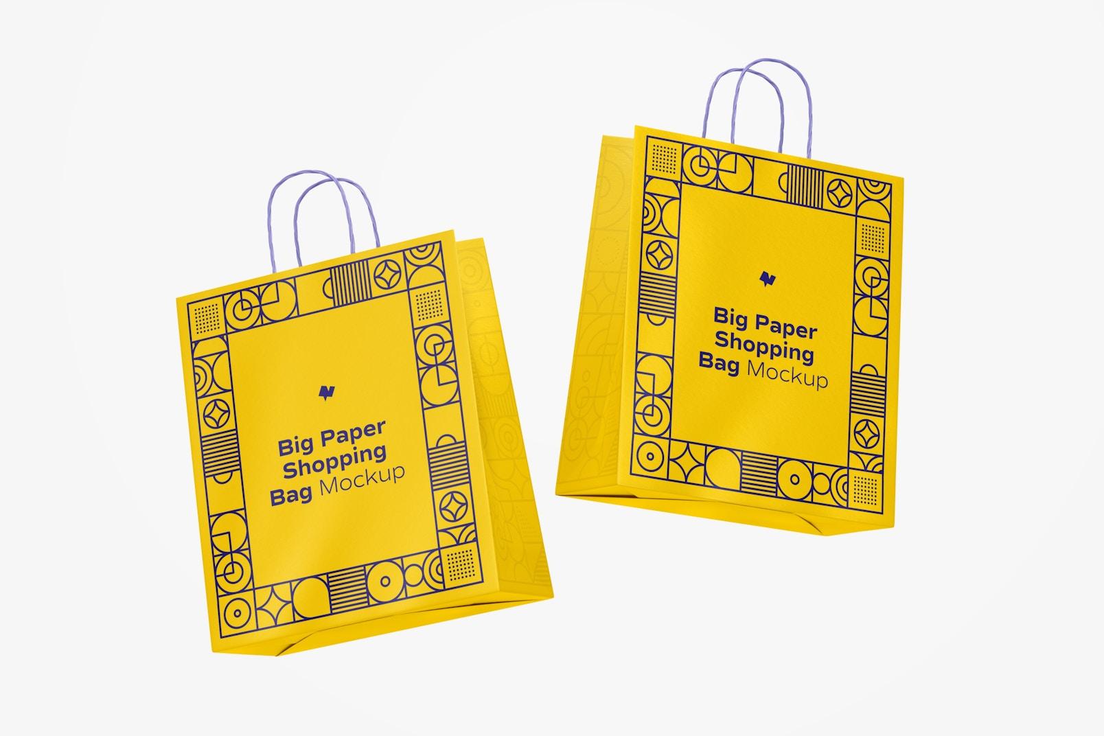 Big Paper Shopping Bags Mockup, Floating