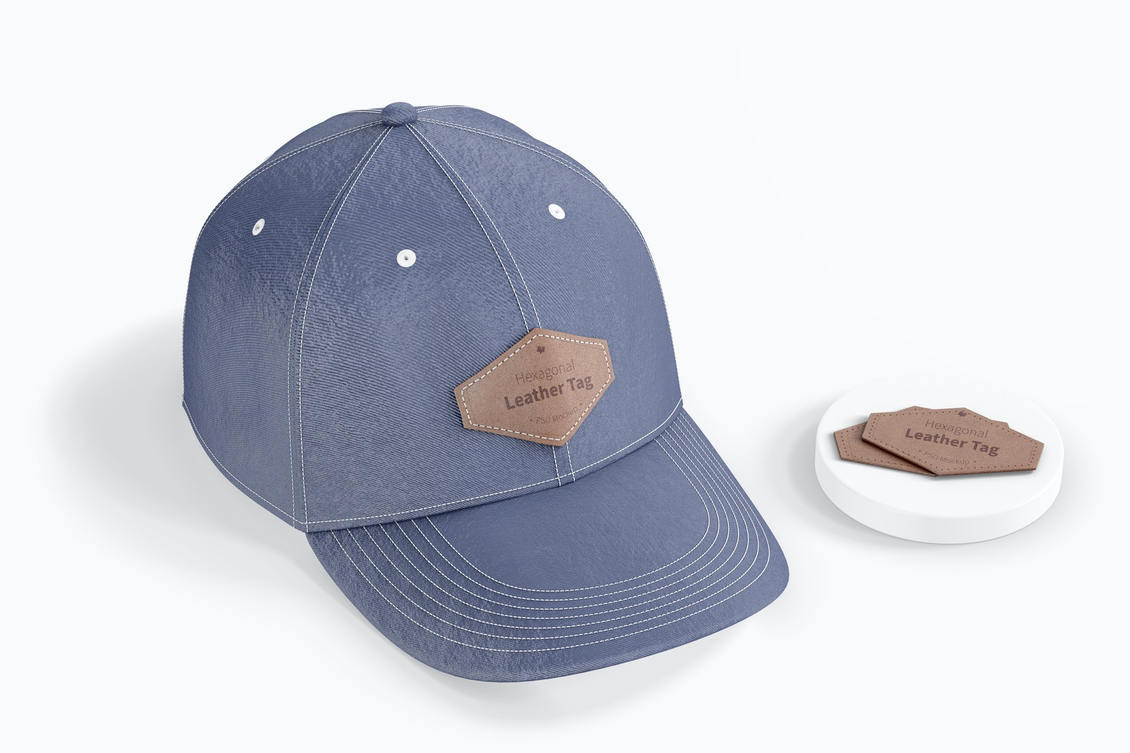 Hexagonal Leather Tags on Cap Mockup