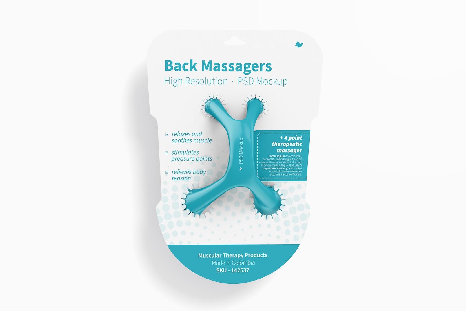 Back Massager on Blister Mockup, Front View