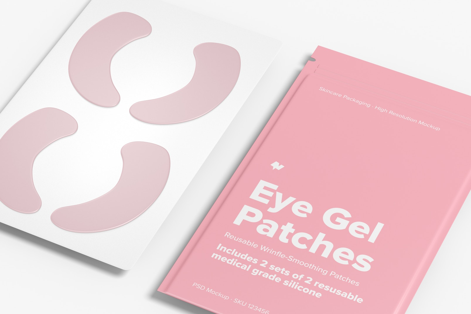 Eye Gel Patches Packaging Mockup, Close Up