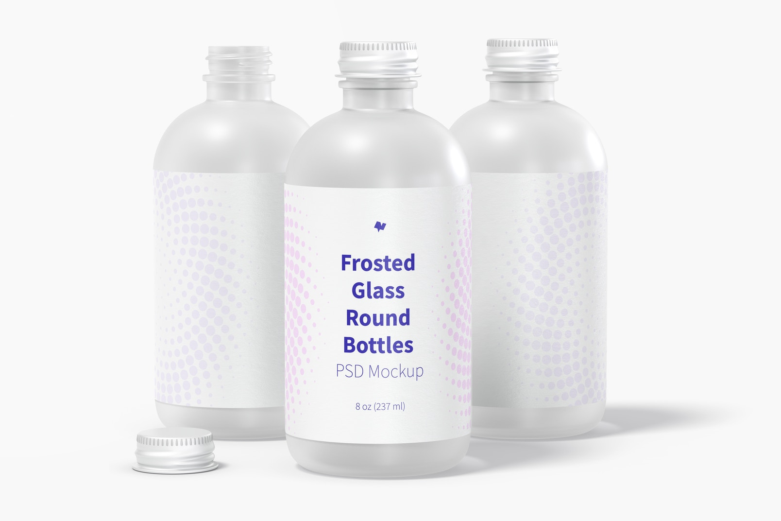 8 oz Frosted Glass Round Bottles Mockup, Front View