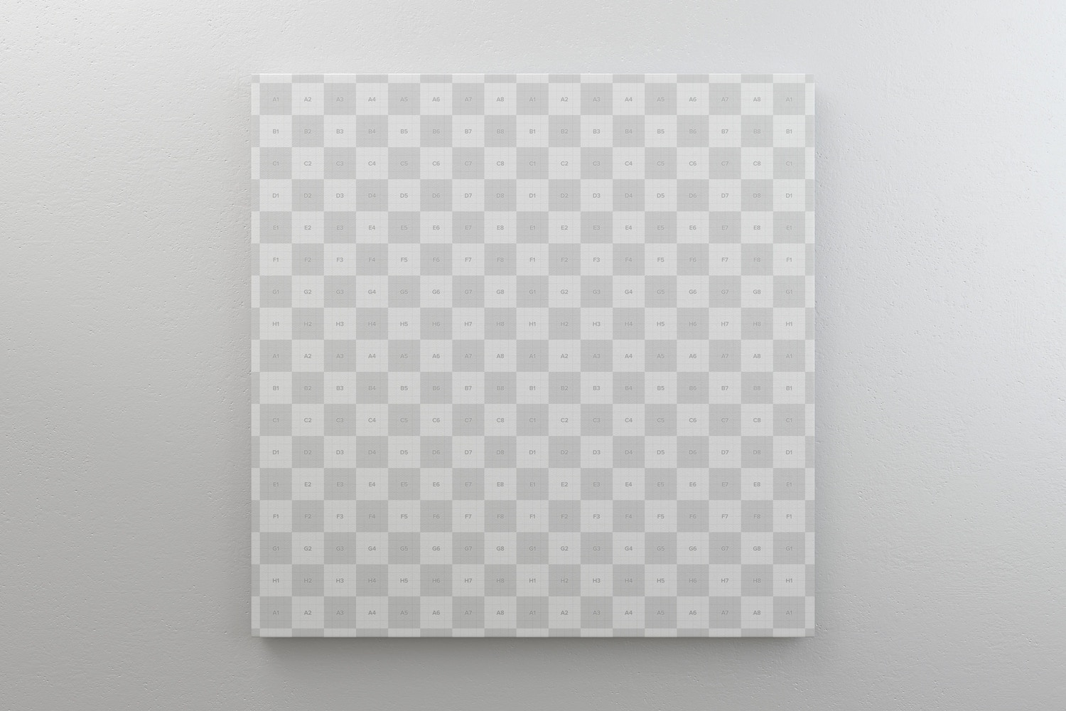 Square Canvas Mockup Hanging on Wall, Front View