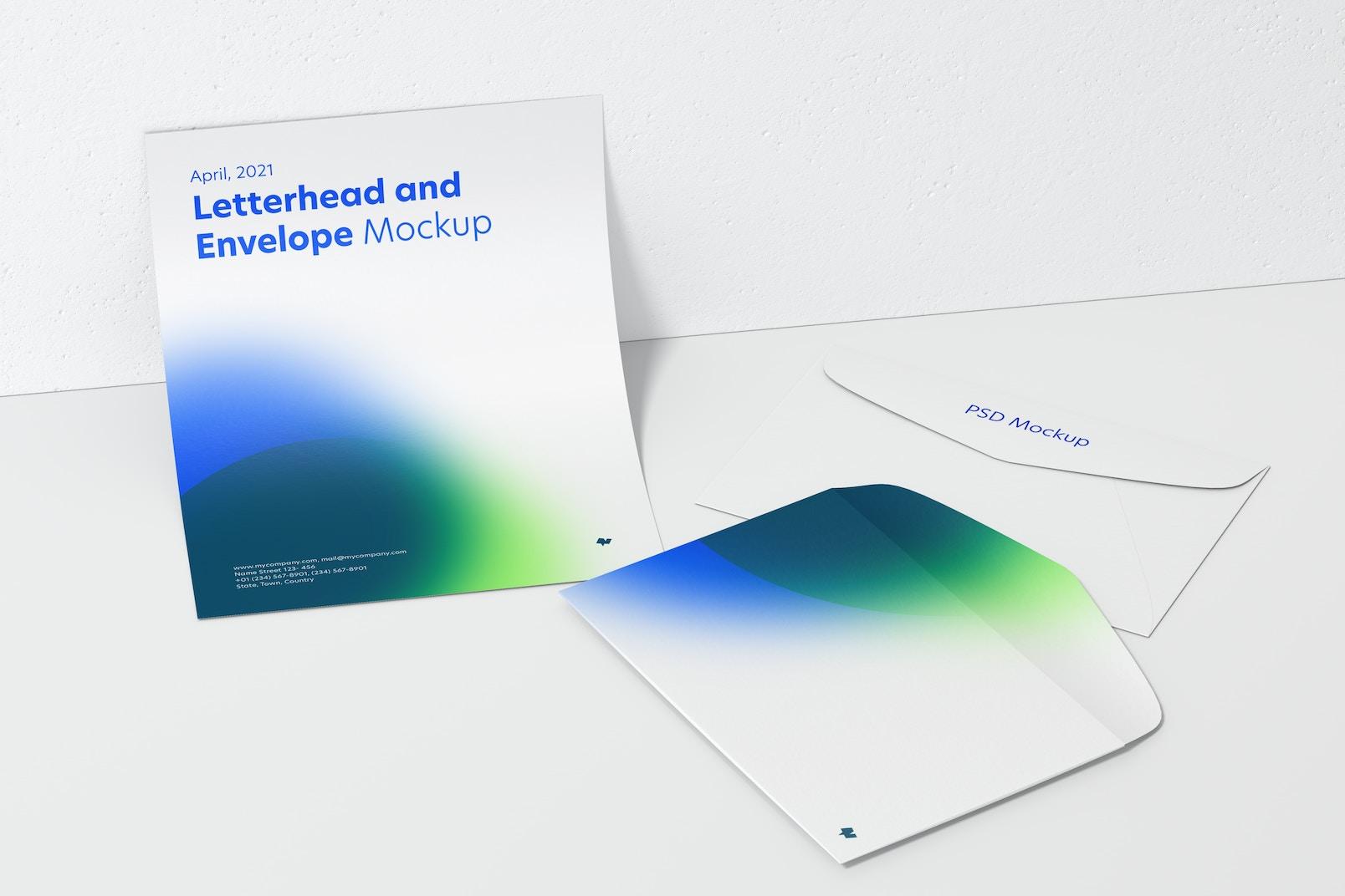 Letterhead and Envelope Mockup, Leaned