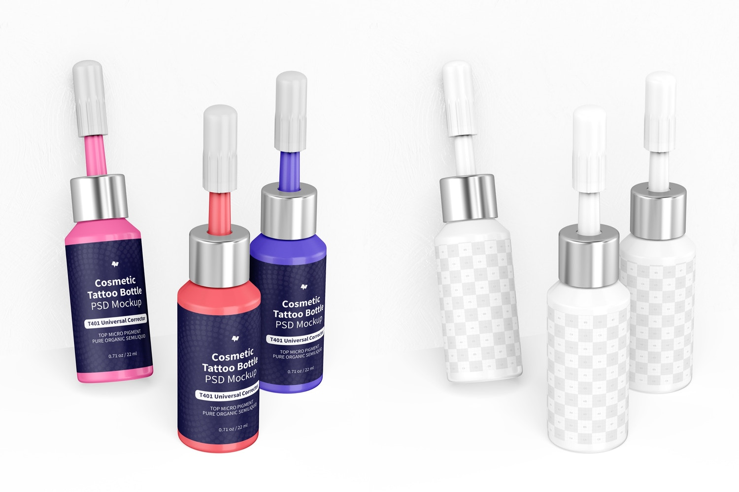 Cosmetic Micro Pigment Tattoo Bottles Mockup, Leaned