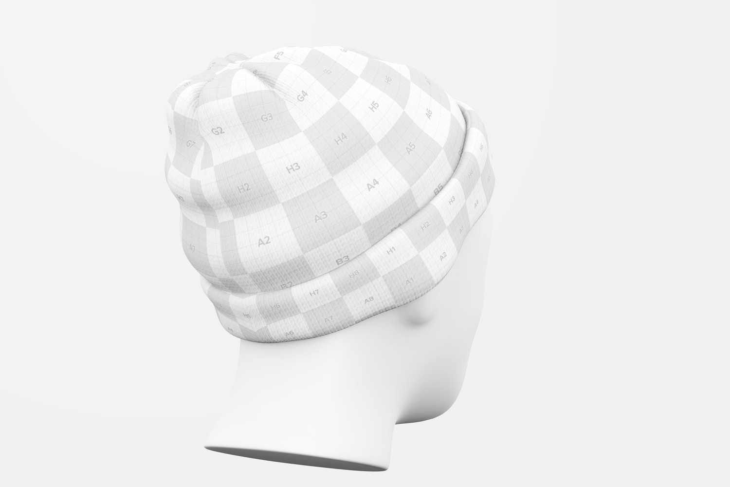 Beanie with Head Mockup, Perspective Back View