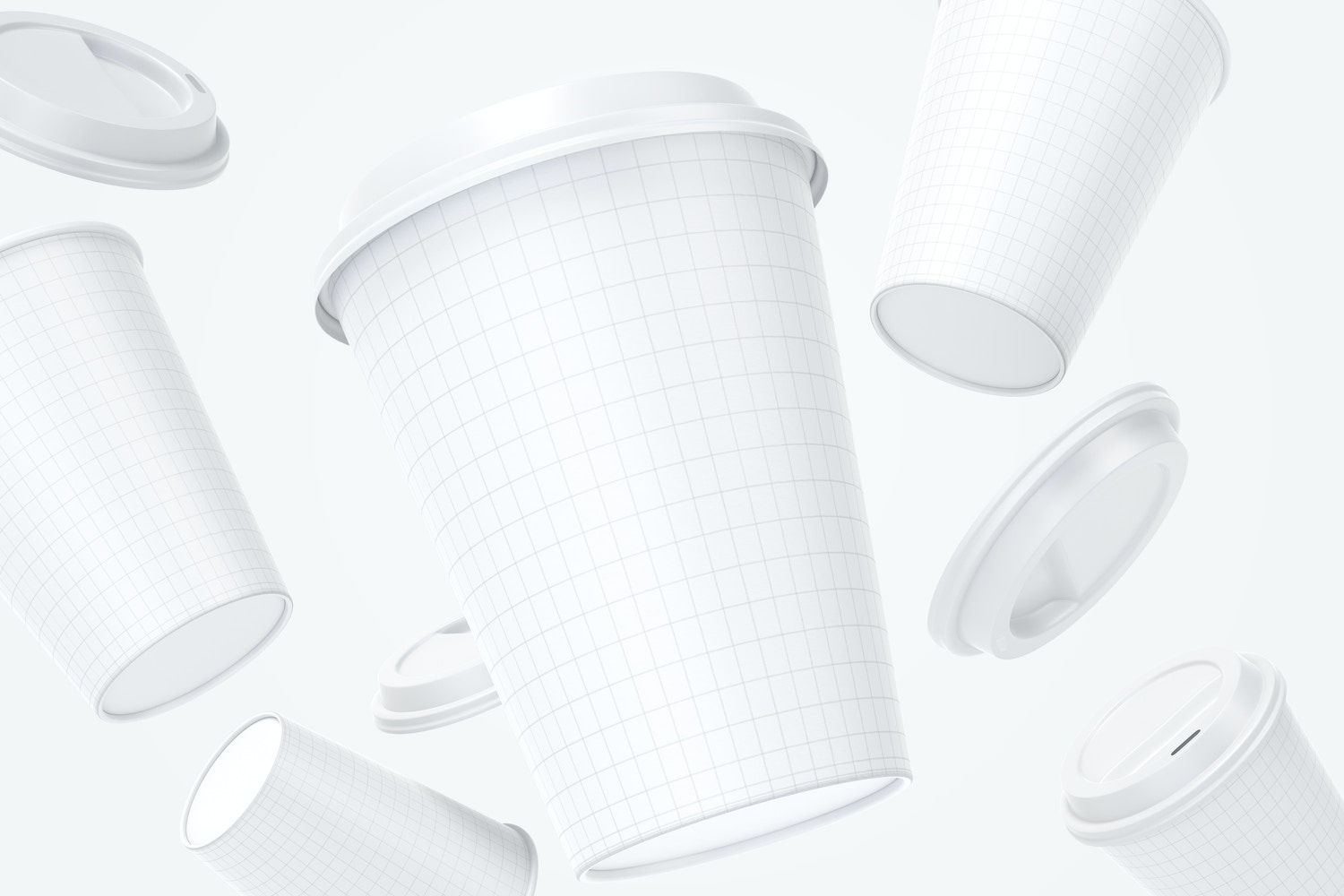 12oz Paper Coffee Cups with Caps Mockup, Falling