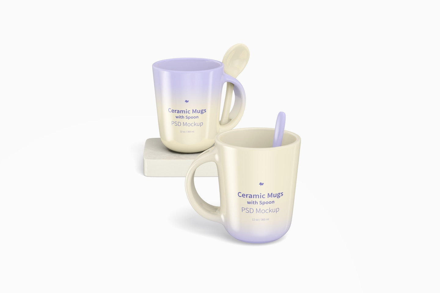 12 oz Ceramic Mugs with Spoon Mockup, Perspective
