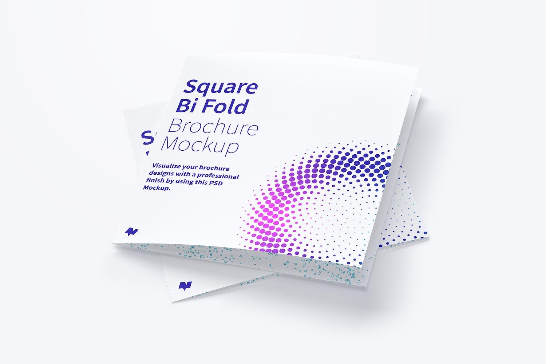Two Square Bi Fold Brochure Mockups.
