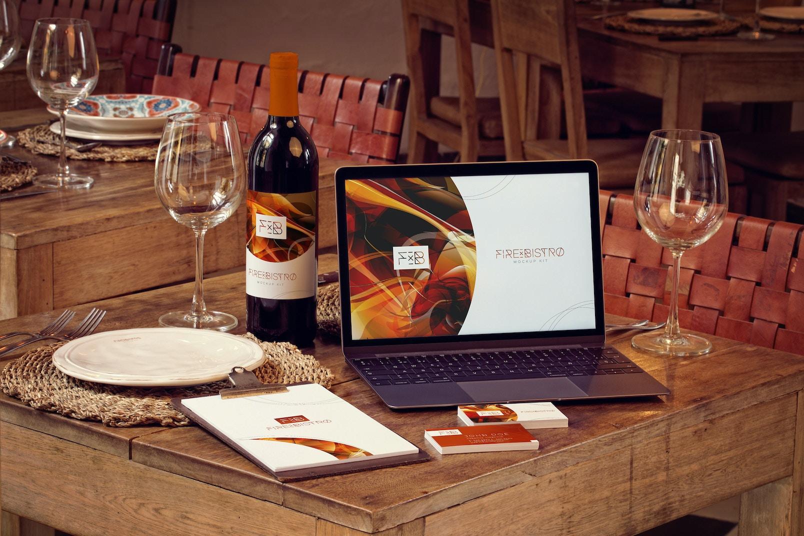 Wine Bottle, MacBook, Business Cards and Menu Mockup