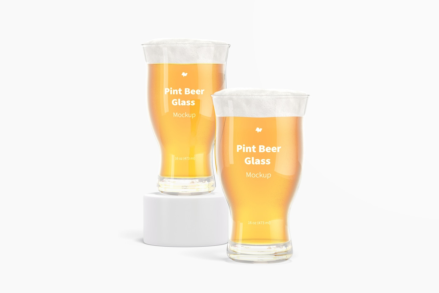 16 oz Pints Beer Glass Mockup, Front View