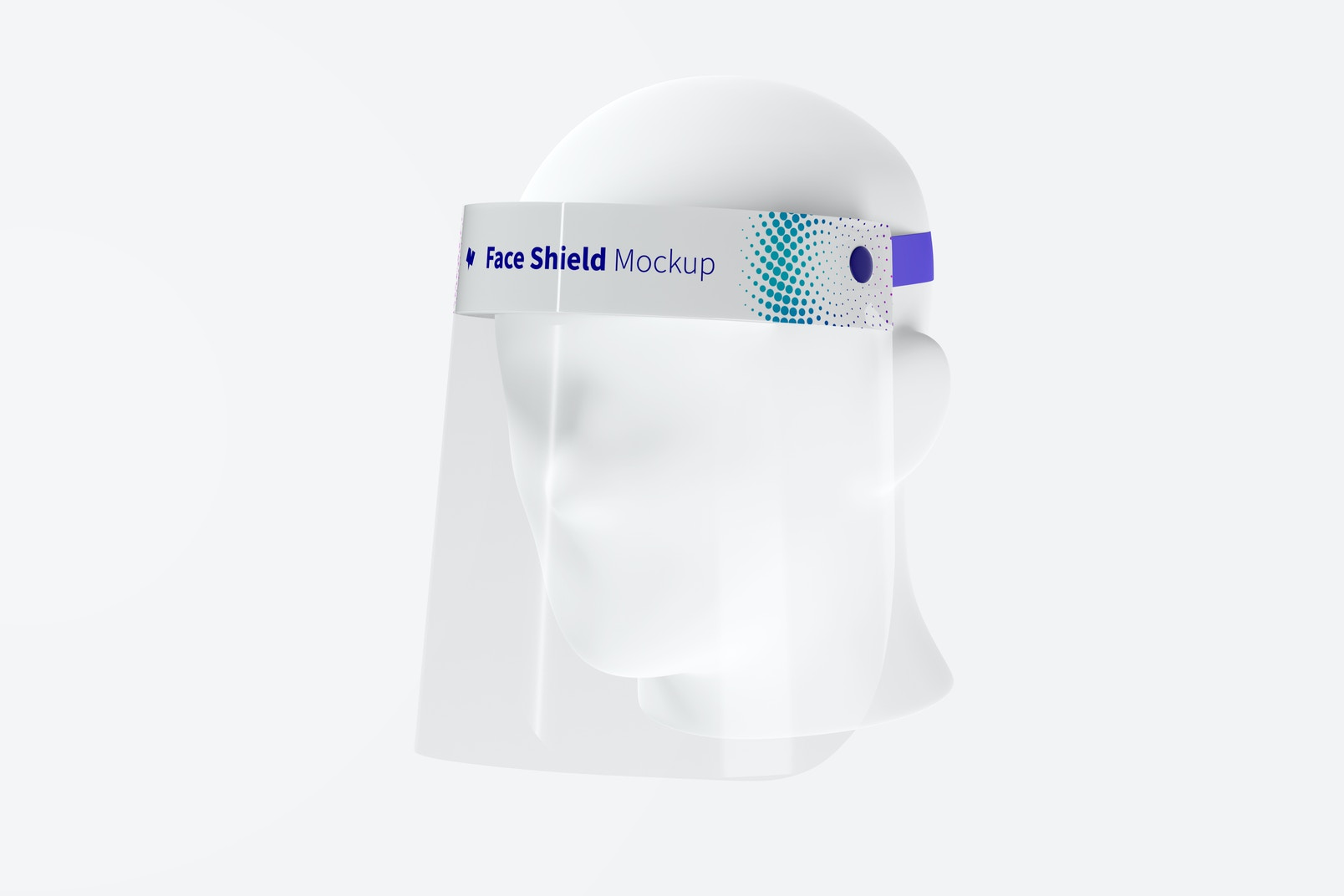 Face Shield with Head Mockup, 3/4 Front Right View