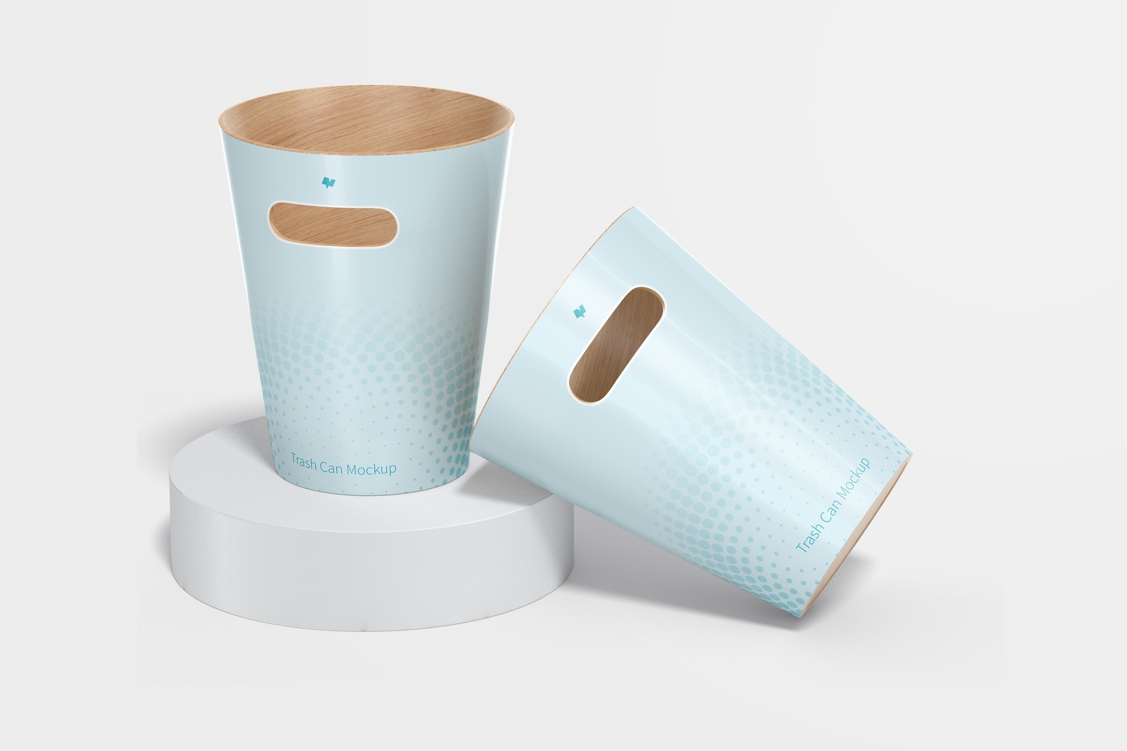 Wood Trash Cans Mockup, Standing and Dropped