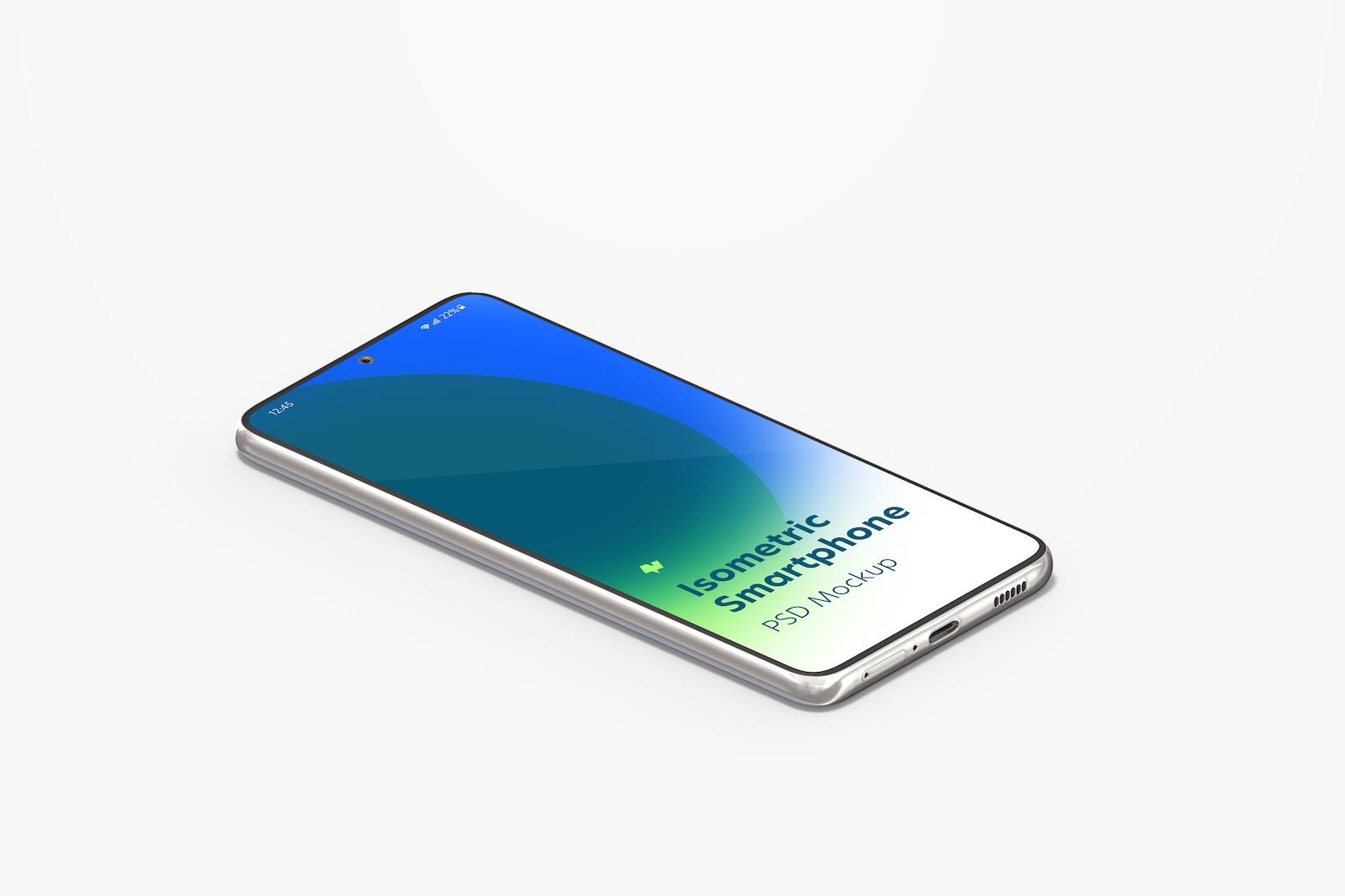 Isometric Samsung S21 Mockup, Left View