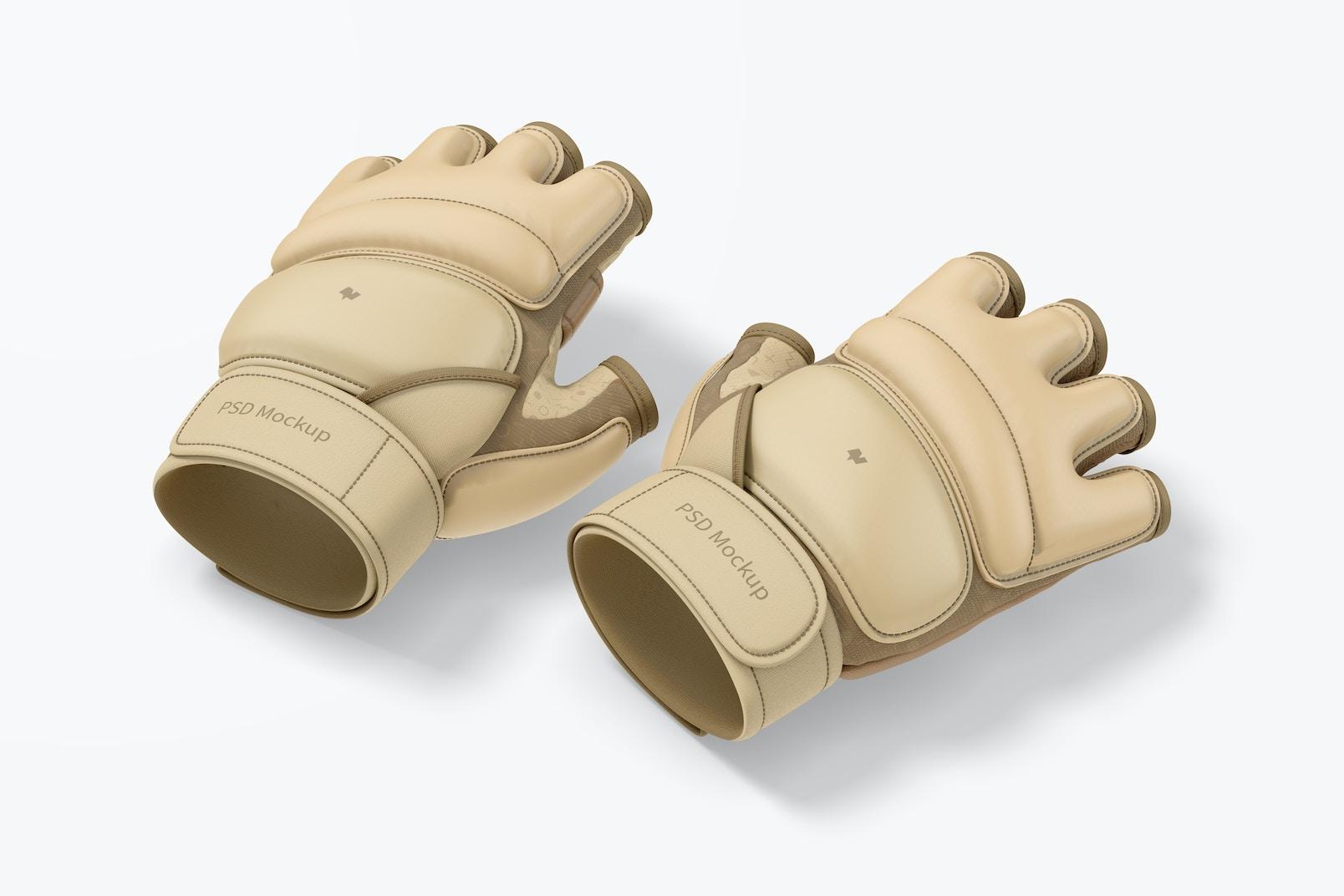 Taekwondo Gloves Mockup, Perspective
