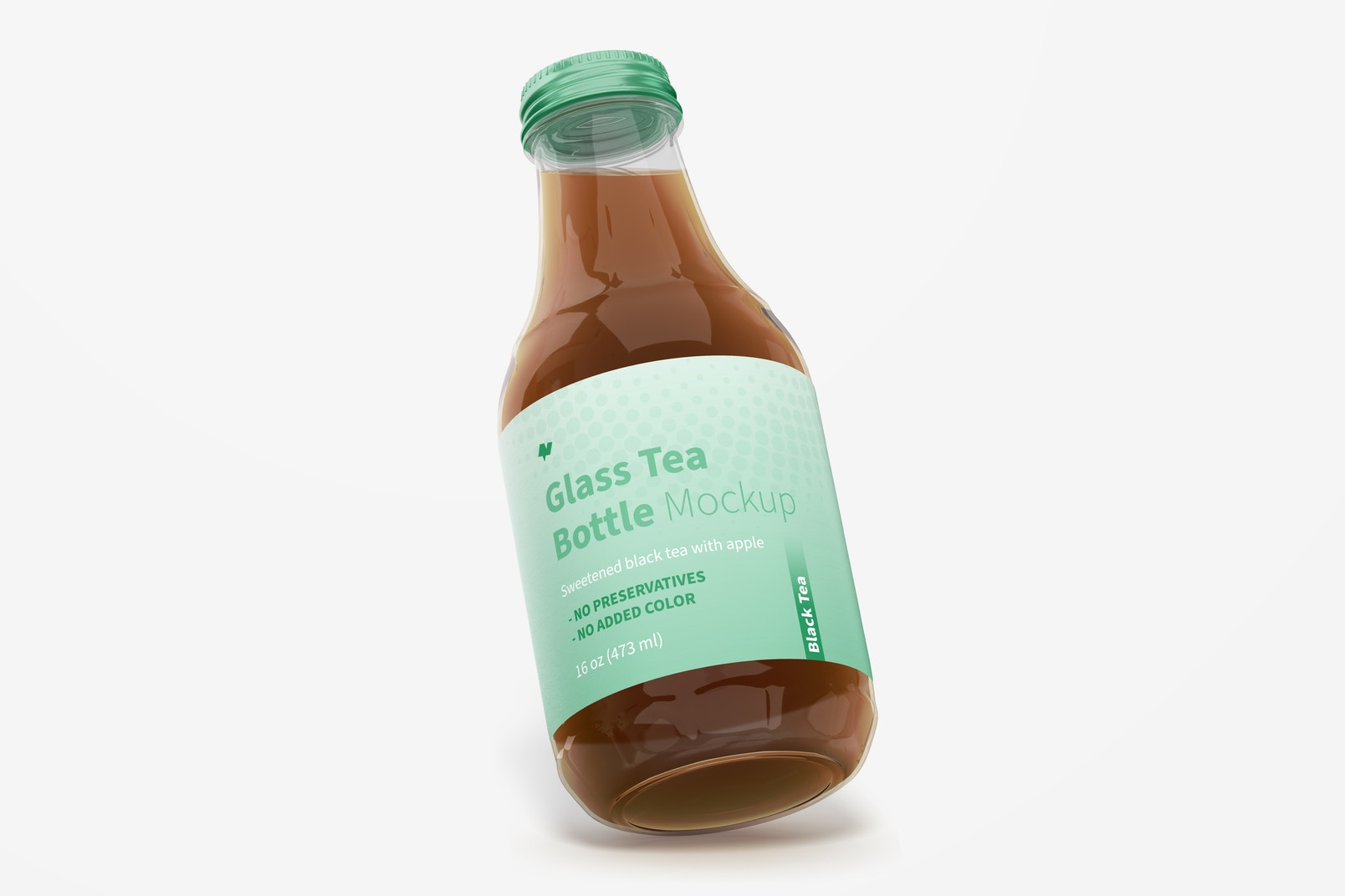 16 oz Glass Tea Bottle Mockup, Leaned