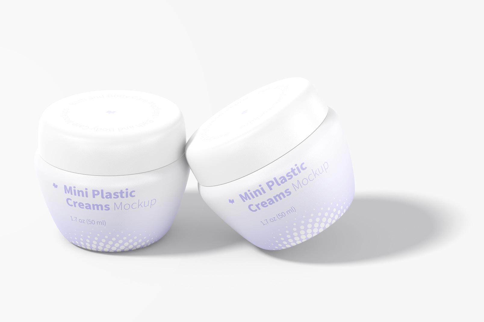 Mini Plastic Cream Jars with Lid Mockup, Perspective View