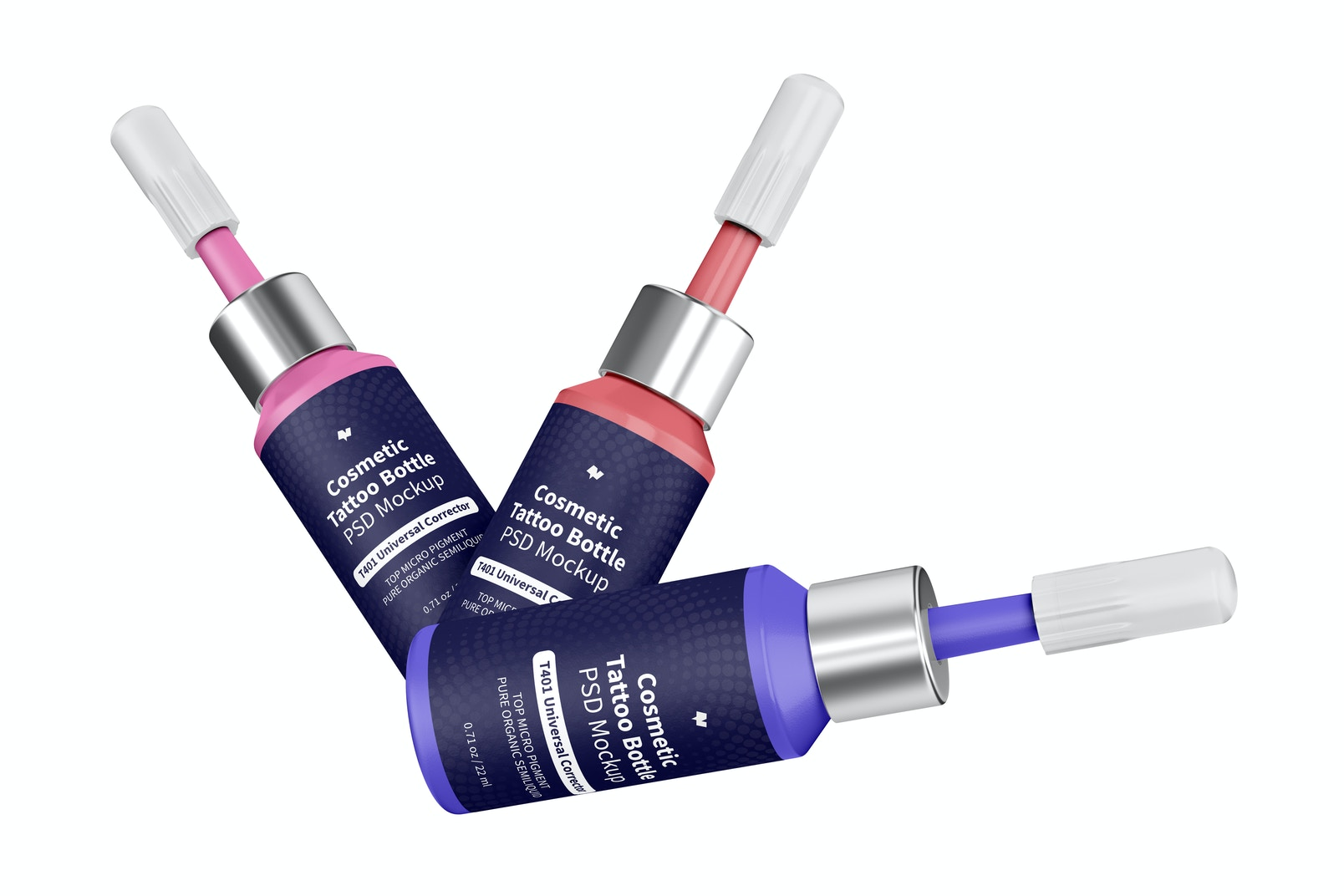 Cosmetic Micro Pigment Tattoo Bottles Mockup