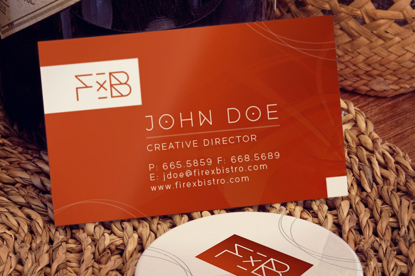 Business card, Button pin Mockup
