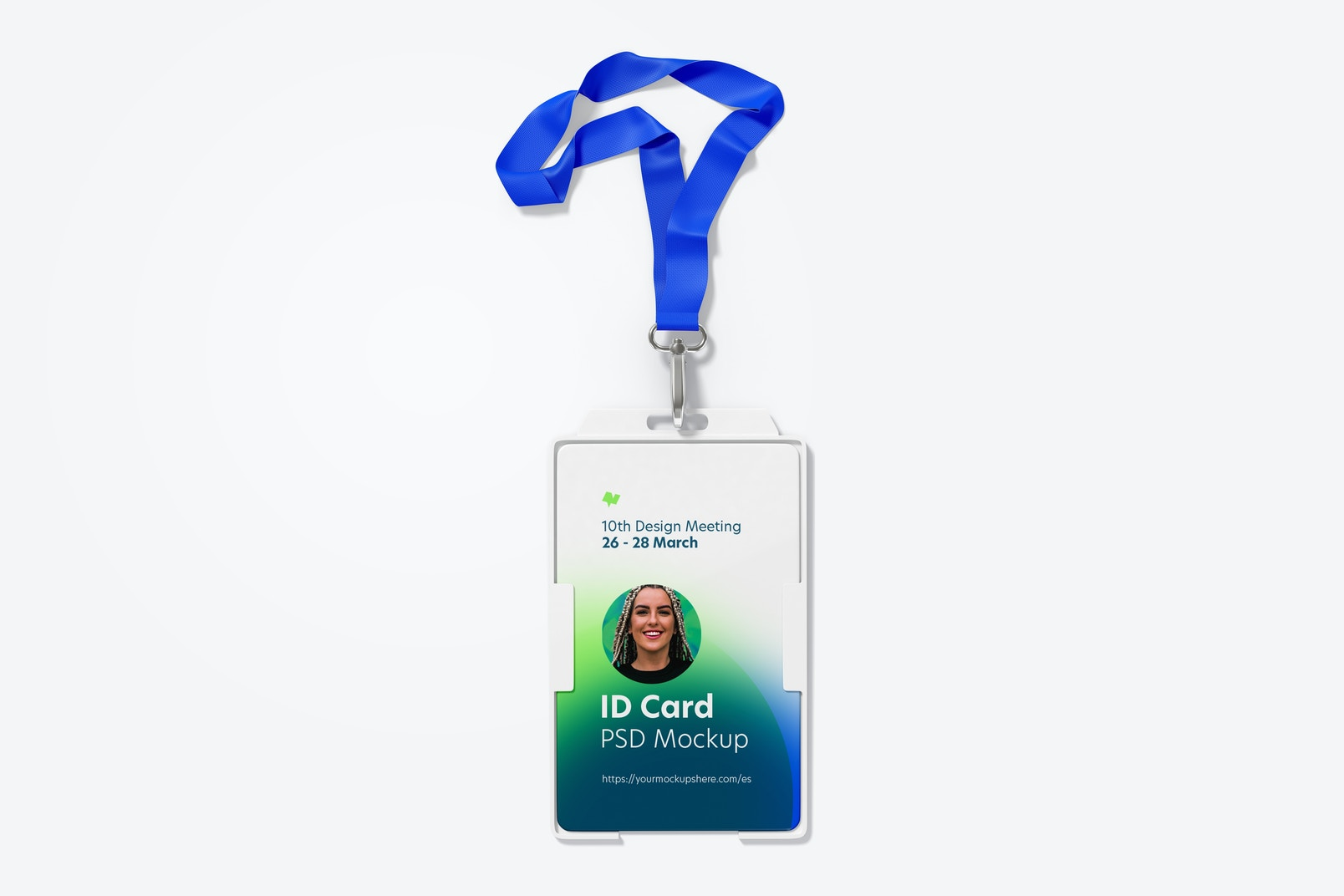ID Card with Lanyard and Swivel Hook Mockup