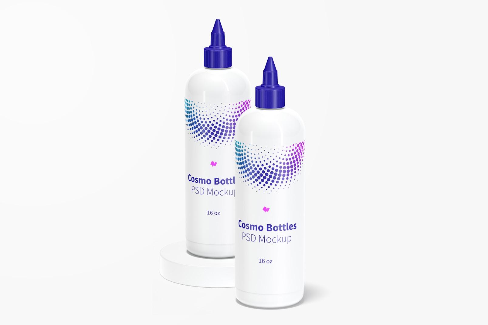 Maqueta de Botellas Cosmo con Tapa Giratoria de 16 oz, Vista Derecha