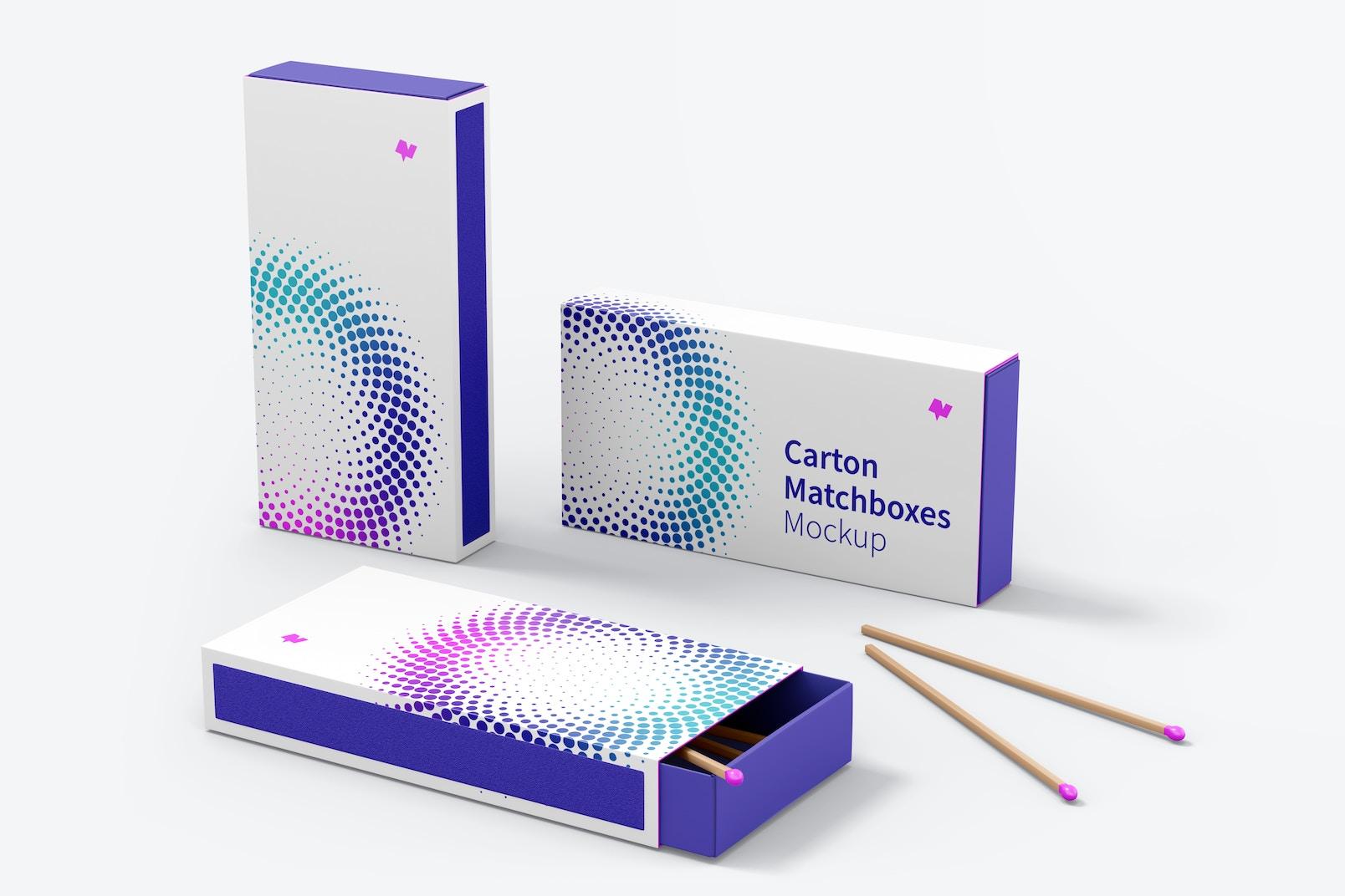 Carton Matchboxes Mockup, Multiple Views Set