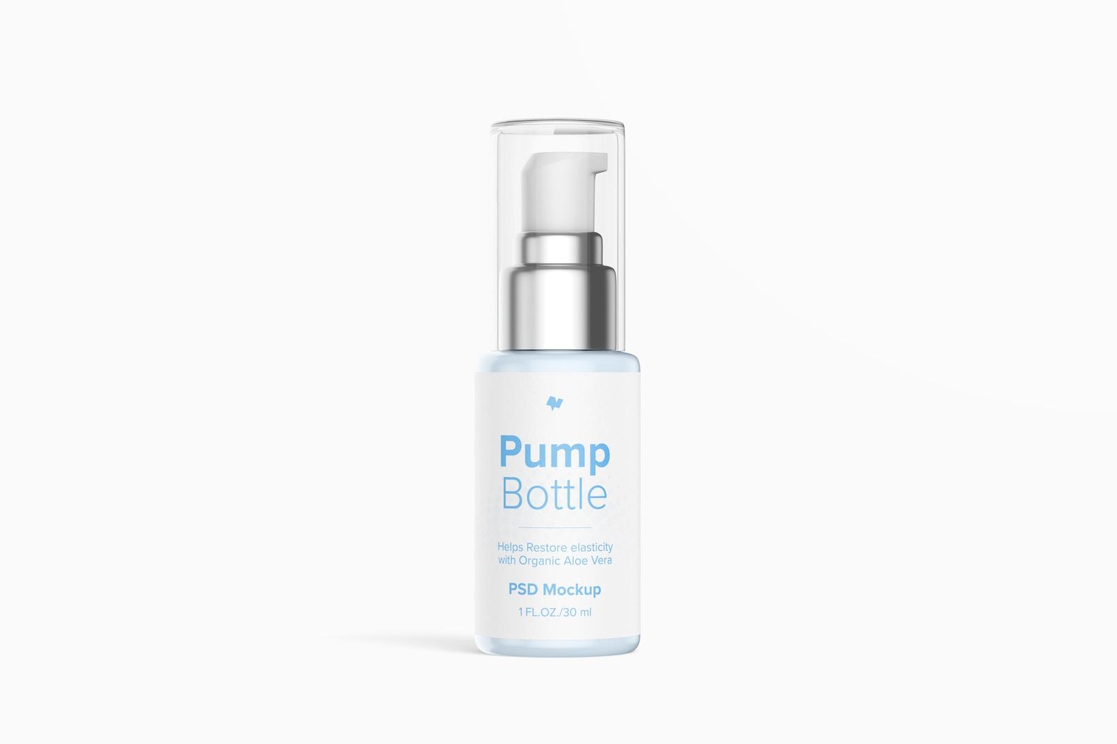 1 oz Pump Bottle Mockup, Front View