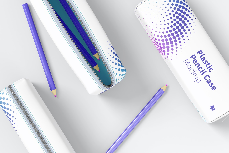 Plastic Pencil Case Mockup, Top View