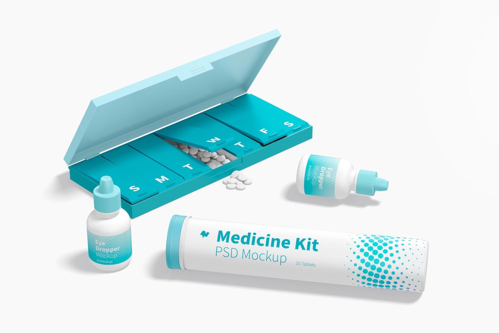 Medicine Kit Mockup, Left View