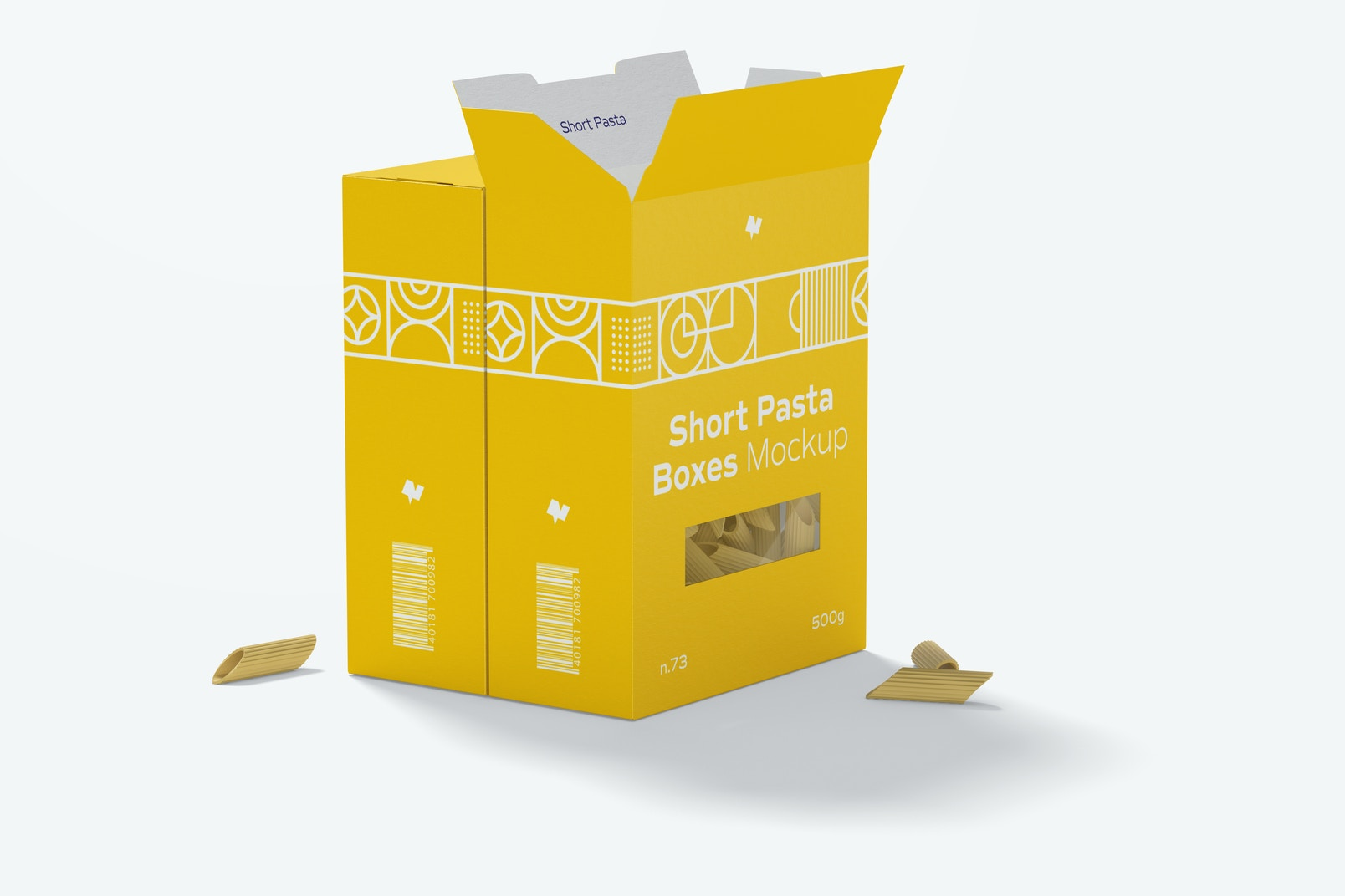 Short Pasta Boxes Mockup, Opened and Closed