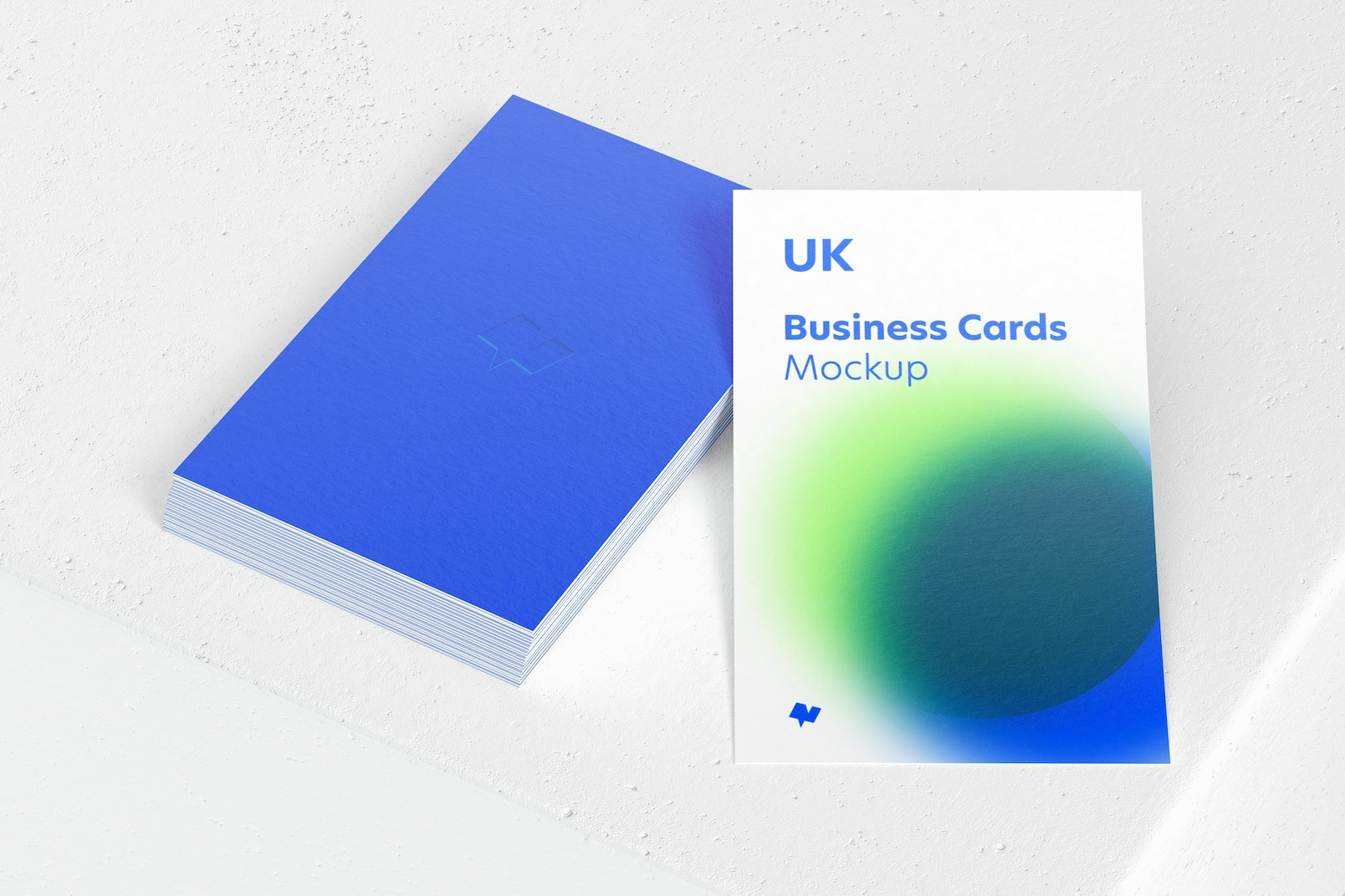 UK Portrait Business Cards Mockup, Perspective View
