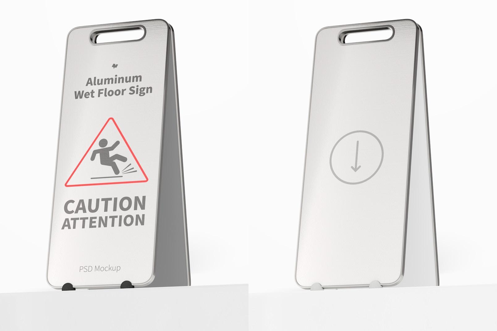 Aluminum Wet Floor Sign Mockup, Perspective